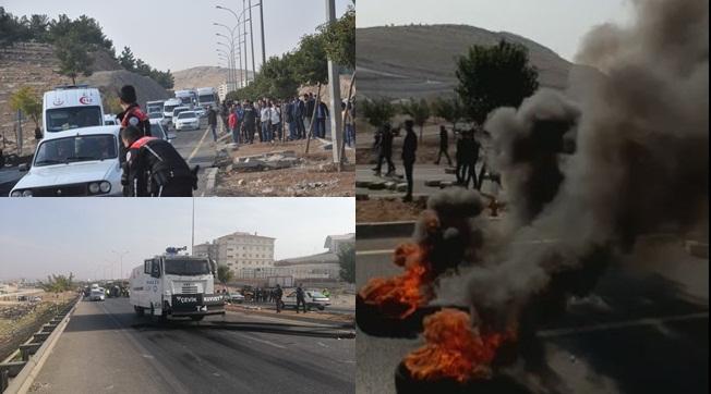 Eyyübiye'de Öğrenciler Lastik Yakıp Yolu Kapattı