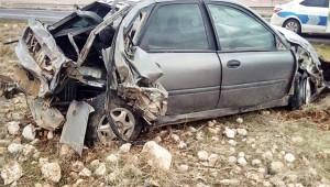 Lastiği Patlayan Otomobil Devrildi 5 Yaralı