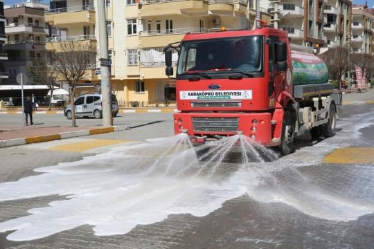 Karaköprü'de korona mücadelesinde 60 ton dezenfekte kullanıldı