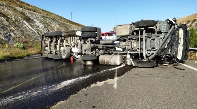 Tanker kazalarında sürücüler yaralandı