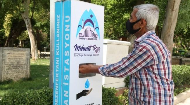 Eyyübiye Belediyesi dezenfekte istasyonları kuruyor (vİDEO)