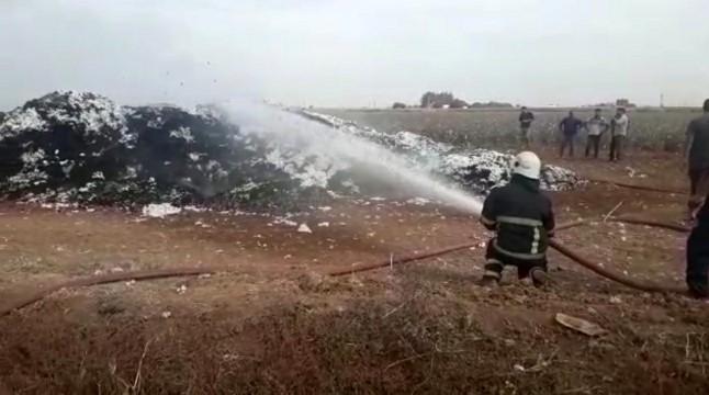 Pamuk yığını alev alev yandı (Videolu Haber)