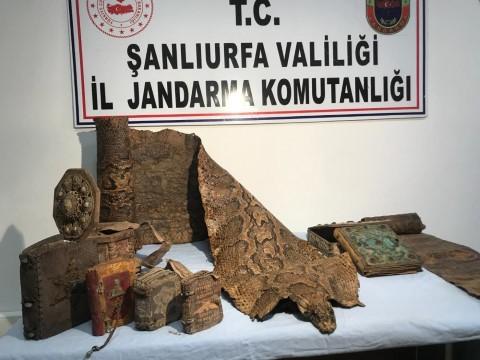 Şanlıurfa'da Ortaçağ'a ait Mısır kökenli işlemeli piton derisi ele geçirildi (Videolu Haber)